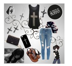 """Dark Cross Set Scene"" by jinxstitched ❤ liked on Polyvore featuring Lagos, WearAll, Frame Denim, Casetify, Kate Spade and Bling Jewelry"