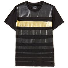 Guess Gold Stripe Short-Sleeve T-Shirt ($49) ❤ liked on Polyvore featuring tops, t-shirts, stripe top, gold t shirt, guess? tees, guess? tops and stripe tee