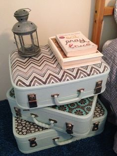 Three old suitcases - painted and fabric covered with modge podge. Totally LMJ