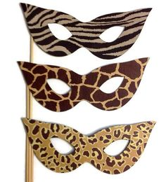Photo Booth Props - 3 Piece Masquerade Masks - Safari Themed on Etsy, $10.01 AUD