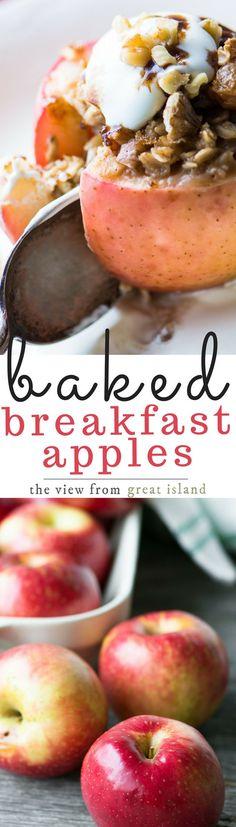 Juicy  Baked Breakfast Apples are stuffed with oatmeal, topped with a drizzle  of maple syrup and a dollop of whipped cream for the coziest breakfast  around!   fall   back to school breakfast  