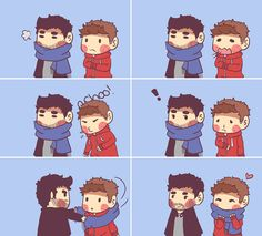 Cute!  Derek gives Stiles his scarf.