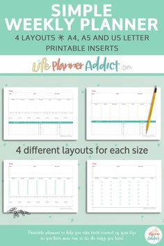 The Simple Weekly Planner printable helps you focus on what is important and get more done each day. Hourly Planner, Academic Planner, Study Planner, Goals Planner, Planner Inserts, Planner Template, Bullet Journal Tracker, Bullet Journals, Student Planner Printable