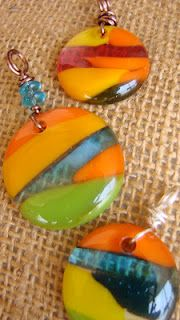 Beautiful fused glass cabochons that look like sunsets by Jennas Jewelry Lab.