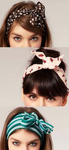 🎀 Laços para o Cabelo - / 🎀 Ties for Hair - Bandana Hairstyles, Easy Hairstyles, Estilo Pin Up, Pin Up Hair, Good Hair Day, How To Make Hair, Bad Hair, Hair Trends, Hair Bows