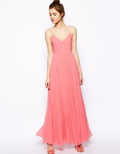 Buy ASOS Cami Pleated Maxi Dress at ASOS. With free delivery and return options (Ts&Cs apply), online shopping has never been so easy. Get the latest trends with ASOS now. Bridesmaid Dresses Under 100, Prom Dresses, Coral Bridesmaids, Bridesmaid Ideas, Evening Dresses, Casual Dresses, Wedding Dresses, Dress Skirt, Dress Up