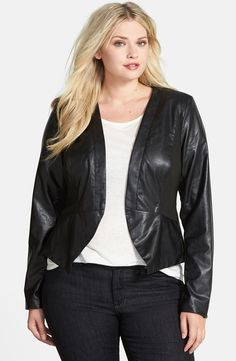 Plus Size Faux Leather Jacket (Love <3)