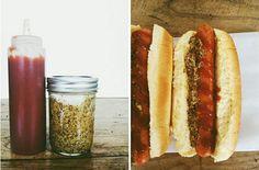 Homemade ketchup and mustard