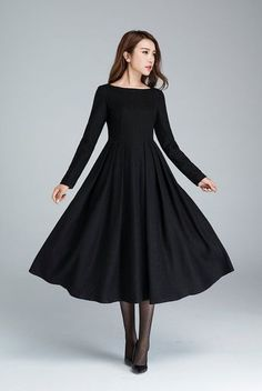 black wool dress, pleated dress, winter dress, long dress, fitted and flare dress, evening dress, casual dress, day dress 1622