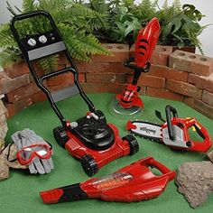 CP Toys by Constructive Playthings - Child-Sized Power Gardening Tools Playset with Realistic Sounds - Includes Leaf Blower, Weed Trimmer, Chainsaw, and Lawn Mower Garden Power Tools, Garden Tool Set, Gardening Tools, Inverter Generator, Garden Equipment, Lawn Equipment, Leaf Blower, Garden Projects, Kid Projects
