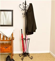 Scrolled Metal Hall Tree With Umbrella Stand