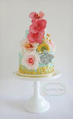 Floral Bouquet - by CobiandCocoCakes @ CakesDecor.com - cake decorating website