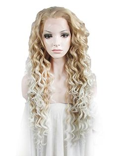 Imstyle Long Curly Cosplay Party 2 Tones Blond White Edge Heat Resistant Fiber Lace Wig *** To view further for this item, visit the image link. (This is an affiliate link) Curly Lace Front Wigs, Synthetic Lace Front Wigs, Synthetic Wigs, Lace Wigs, Front Lace, Curly Hair Care, Curly Hair Styles, Natural Hair Styles, Hair Color Balayage
