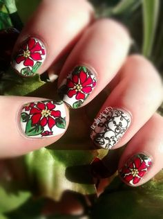 Day 14: Poinsettimus  https://www.facebook.com/Nailingtons  #christmasnailart #nailart #christmasnails #diynailart #poinsettianails