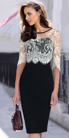 Fashion Lace Spliced Half Sleeve Slim Fit Pencil Dress In Black Elegance~ Pencil Dress Outfit, Dress Outfits, Fashion Dresses, Dress Up, Work Outfits, Dress Clothes, Bodycon Fashion, Fancy Dress, Pink Dress