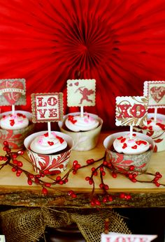 Pretty Valentine's Day cupcake toppers