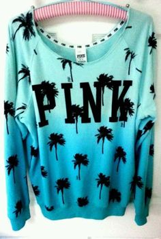 Victoria's Secret PINK Sweatshirt Palm Tree Tropical Aqua Blue Ombre Shoulder M in Clothing, Shoes & Accessories | eBay
