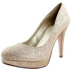 Delicious Women Eiffel Glossy Closed Toe Dress Platform Pump Professional Women Stiletto Heel,Gold Glitter,8.5