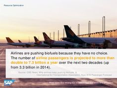 Airlines are pushing biofuels because they have no choice.  The number of airline passengers is projected to more than double to 7.3 billion a year over the next two decades (up from 3.3 billion in 2014).