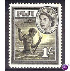 FiJi - 1954- QE2. 1/- native Spear fishing at night. MNH gum on eBid Australia