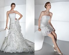 convertible wedding dress   One Wedding Dress, Two Wedding Styles - Wedding Obsessions   The Knot