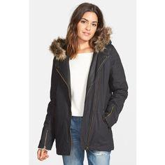 Junior Volcom'Long Daze' Biker Jacket with FauxFur Trim ($150) ❤ liked on Polyvore featuring outerwear, jackets, black, hooded moto jacket, black biker jacket, black quilted jacket, hooded jacket and black parka jacket