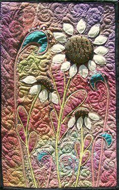Beautiful hand-dyed and hand-painted silk art quilts. Completed with free motion stitching. Venus Midnight Bloom by DebbieAnn