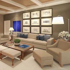 Sofá neutro com almofadas azuis... Projeto Horta e Vello Arquitetura #assimeugosto