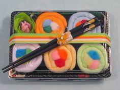 Sushi Baby Gift Set - Neutral Gender - Baby Washcloth Gift - Rainbow Roll. $15.50, via Etsy.
