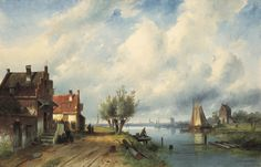 'Charles' Henri Joseph Leickert (1816-1907) A river landscape in summer, oil on canvas, 64.7 x 100.6 cm, signed lower right and dated '79. Collection Simonis & Buunk, The Netherlands.