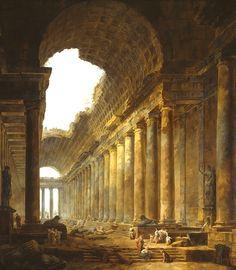 Hubert Robert, The Old Temple, 1787/88 on ArtStack #hubert-robert #art