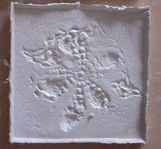 experiment textiles and clay/porcelain #tiles #transparant #white #translucent #porcelain #15x15 #bathroom #textiles #wall #decoration #led #imprint #relief #barbaravos #wallcovering #kitchen #shower #home #interior #design #glaze #backsplash #flower #pattern #coral #fabric #lace