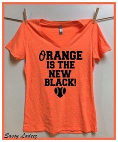 Baltimore Orioles. Orange is Black. Neon Orange Slub Vneck ladies t shirt. Baltimore baseball. Womens clothing. Orange New Black