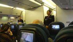 Air New Zealand Boeing 767-300 Cabin Crew at Safety Briefing Positions