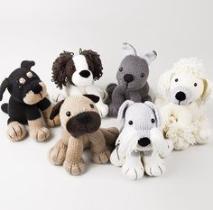 Knitting Patterns and Kit for Best in Show Puppies by Amanda Berry - The Dera-Dogs collection contains six patterns and yarn for puppy softies including Rottweiler, Schnauzer, Pug, Poodle, Spaniel and Bulldog. Designed by Amanda Berry. Finished size between 17-20cm.