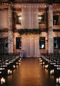 30 Indoor Wedding Ceremony Arches and Aisle Ideas Loft Wedd. - 30 Indoor Wedding Ceremony Arches and Aisle Ideas Loft Wedding Ceremony Space Decor Positives Wedding Ceremony Ideas, Indoor Wedding Ceremonies, Wedding Ideas Candles, Loft Wedding Reception, Wedding Aisle Candles, Reception Ideas, Indoor Wedding Arches, Wedding Lighting Indoor, Perfect Wedding