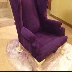 My painted fabric wingback chair! Can't wait til it's dry to add some nail head trim and painted details!