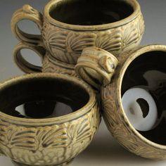 SOUP MUGS pottery stoneware Ash  glaze  w/Slip-Trailed Set Of 4