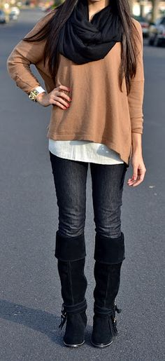 fall layers / white tee under high-low top with scarf, skinnies and boots.