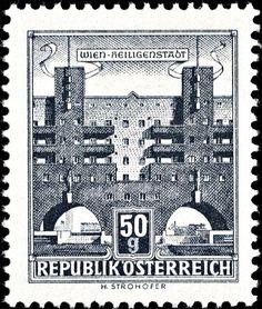 Österreich - Austria 1959 - Bauwerke: Karl-Marx-Hof, Vienna-Heiligenstadt (Österreich) (Bauten) Mi:AT 1044y,Yt:AT 869BB,ANK:AT 1093y,Un:AT 870AII Karl Marx, Stamp Collecting, World, Beautiful, Collection, Vienna, Postage Stamps, City, The World