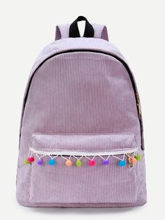 Shop Pom Pom Design Corduroy Backpack online. SheIn offers Pom Pom Design Corduroy Backpack & more to fit your fashionable needs.