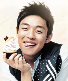 yoo ah in.  Oh you missed a spot, let me.  This boy's smile is something...