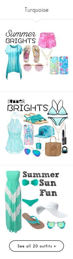 """""""Turquoise"""" by corgi4life ❤ liked on Polyvore featuring The Ragged Priest, Sheriff&Cherry, Lilly Pulitzer, Victoria's Secret, Latigo, Billabong, ViX, AQS by Aquaswiss, Essie and MAC Cosmetics"""