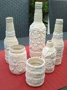 Resultado de imagen para manualidades con botellas de vidrio