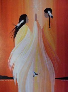 Women Art Print- July Moon by Wabimeguil (Betty Albert-Lincez) Native American Paintings, Native American Artists, Native American Indians, Indian Paintings, Art Paintings, American Indian Art, American Women, American History, Mystique