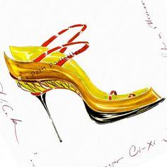 Manolo Blahnik Shoe Fashion Lithos ♥ ♡ Manolos Sketch Shoe Illustration