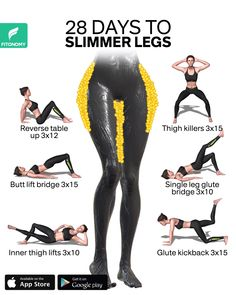 28 DAYS TO SLIMMER LEGS - Training for strong and slimmer legs doesn't mean you'll only need to lift heavier weights at th - Fitness Workouts, Gym Workout Videos, Gym Workout For Beginners, Fitness Workout For Women, Fitness Routines, At Home Workouts, Fitness Motivation, Workout Plans, Gym Workouts For Legs