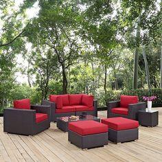 Convene 8 Piece Outdoor Patio Sectional Set in Espresso Red