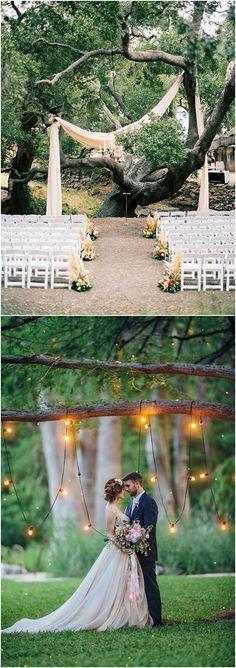 lit tree as wedding ceremony backdrop#weddings #weddingideas #weddingarces #weddingdecor #weddingceremony