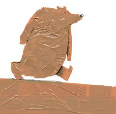 This unique illustration is 'The bear scare bear', by Klaas Verplancke . Wonderful to see this inventive use of packaging tape as the bas...
